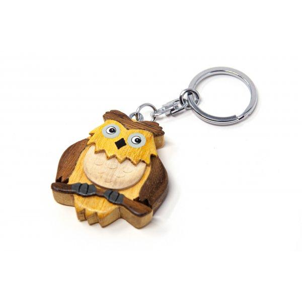 Schlüsselanhänger aus Holz - Uhu