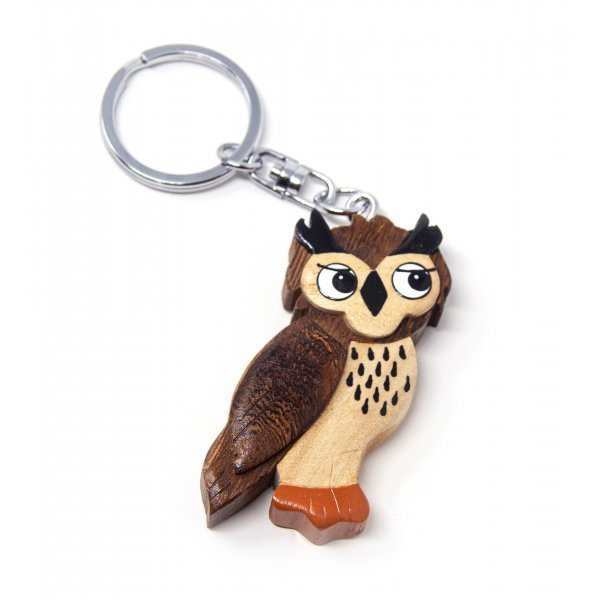 Schlüsselanhänger aus Holz - Eule Uhu