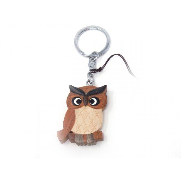 Schlüsselanhänger aus Holz - Eule