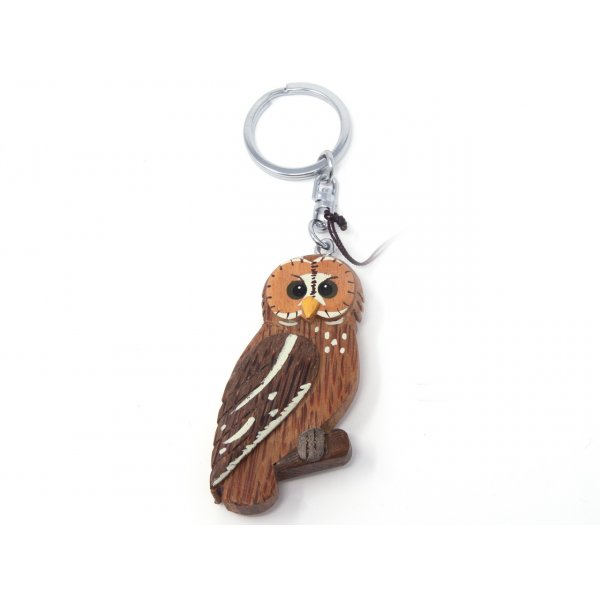 Schlüsselanhänger aus Holz - Fleckenkauz