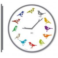 KooKoo Wanduhr - UltraFlat, Vogelstimmen Design Uhr color