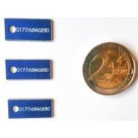 Adresstafeln mini mit Loch - blau - 10 Stück - 19mm