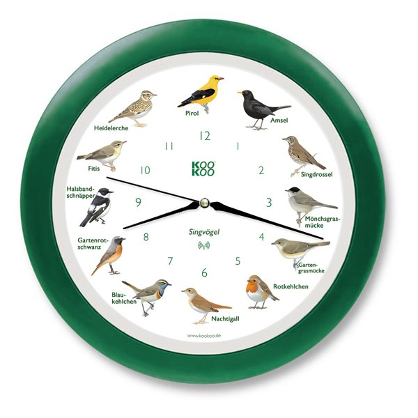 KooKoo Wanduhr - Singvögel mit RC Funkquarzwerk - 34cm, grün