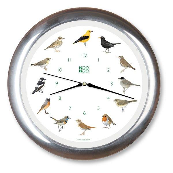 KooKoo Wanduhr - Singvögel mit Quarzwerk - 34cm, Alu